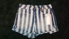 Frankie B. Women's High Rise Striped Denim Shorts Blue & White