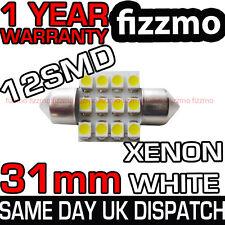 30mm 31mm INTERNO TESTATA LAMPADINA A SILURO 12 LED SMD TARGA XENO BIANCO
