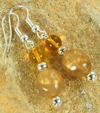 -753b *Free Uk P&P* Champagne Bead Drop Dangle Earrings