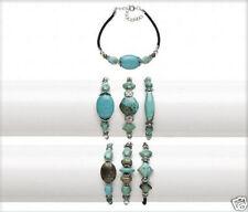 "Turquoise Bracelets Gemstone Beads 8"" Adjustable Jewelry Lot of 3"