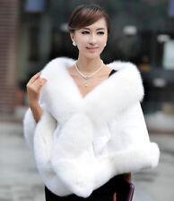 100% Real Genuine Rex Rabbit Fur Cape Fox Fur Trim Shawl Stole Women Warm luxe