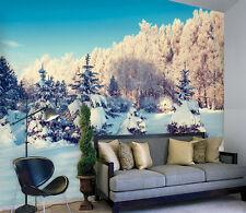 3D Blanc Arbre Neig Photo Papier Peint en Autocollant Murale Plafond Chambre Art