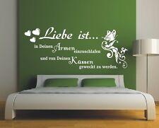 G155 Spruch Wandtattoo  Liebe ist in deinen armen Wandbild Wandaufkleber Zitat 1