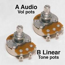 A or B Full Size Alpha Vol/Tone control pot Potentiometer 15mm shaft POT13