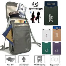 RFID TRAVEL PASSPORT POUCH HIDDEN WALLET NECK UNISEX MONEY CREDIT CARDS+SLEEVES