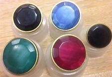 5x John Lewis gold rim buttons coat jacket tudor costume tunic acyrilic gem
