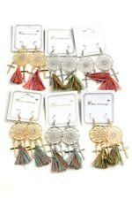 Women's Fashion Dream Catcher Tassel Drop Earrings w/ Rhinestones & Crosses Nwt