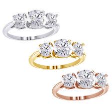 Valentine's Day Ring 2 1/2Ct 3 Stones Round Giamond 14K White gold $56.52