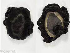 Short Monofilament Hand Tied Wavy Straight Brunette Grey Toupee 5X7