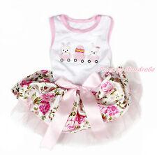 Easter Rabbit Egg White Sleeveless Pink Floral Rose Skirt Dog Dress Pet Outfit
