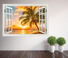 Beautiful tropical beach palm trees window wall sticker wall mural (25827353ww)