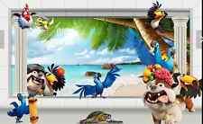 3D Hunde, Papageien, Sand 267 Fototapeten Wandbild FototapeteBildTapete Familie