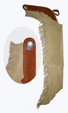 Profi Westernchaps Showchaps Chaps mit Lederbesatz beige Größe XS-XL