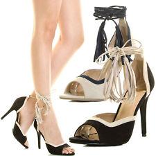 Wome Stiletto High Heel Pump Sandal Fringe Tassel Leg Wrap Lace Up Peep Open Toe