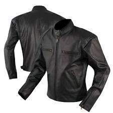 Giacca Custom Naked Vintage Moto Giubbino Pelle Foderata Tasche per Protezioni