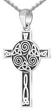 Men's 0.925 Sterling Silver Irish Celtic Knotwork Cross Charm Pendant Necklace