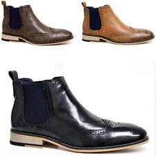 Para hombres Imitación de Cuero Inteligente Formal Chelsea Botas Tobillo Cuero Calado Boda Zapatos De Oficina