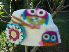 Owl Flower Fleece Hat Cream Purple Blue Pink Size Newborn baby, children, Adults