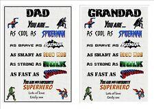 Personalised Superhero Dad Daddy Grandad Uncle Christmas Birthday Word Art A4