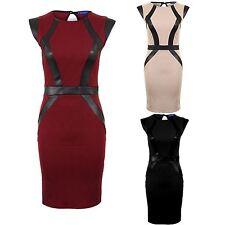 Women's Textured Quilted Slim Stretch PVC Strip Panel Ladies Short Bodycon Dress
