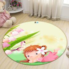 3D Cartoon Girl 6 Non Slip Rug Mat Room Mat Round Elegant Photo Carpet US Summer