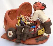 Car Service Mechanic Figurine, Engine Motor Repair Garage, Handmade Pottery Art