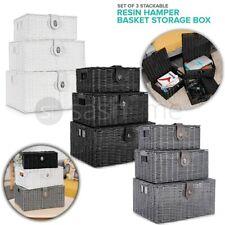 SET OF 3 RESIN WOVEN WICKER XMAS HAMPER BASKET STORAGE BOX WITH LID & LOCK GIFT