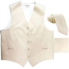 "New Men's ivory formal vest Tuxedo Waistcoat_2.5"" necktie & hankie set"