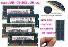 Hynix 8GB 4GB 2GB 1GB DDR2 DDR3 667 800 1066 1600 SODIMM Laptop Memory RAM Lot