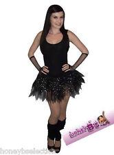 NEON BLACK Sparkle Gonna Tutu Legwarmer Guanti Gotico anni'80 Costume Nubilato