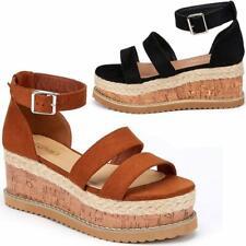 Damen Keilabsatz Plateau Sandalen schick Sommer Kleid Heels Walking Party Schuhe Größe