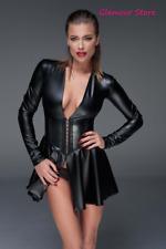 Sexy Abito Vestito Nero Corsetto Power Wetlook Maniche Lunghe Fashion GLAMOUR