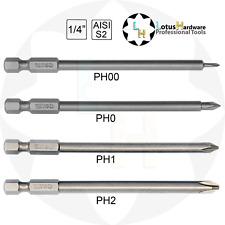 "Bit Set Long PHILIPS 1/4"" S2 Steel PH00/PH0/PH1/PH2 x100mm Yato YT-0459/YT-0488"