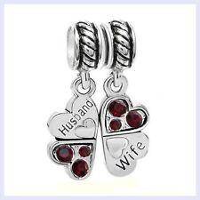 STR Silver Husband Wife Crystal Four Clover Love Bead f/ European Charm Bracelet
