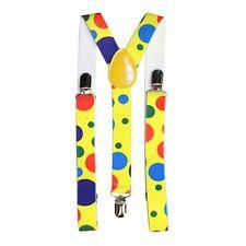 Multicolour Polka Dot Clown Fancy Dress Costume Trouser Braces Suspenders
