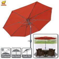 9ft Patio Umbrella Tilt and Crank 8 Ribs Outdoor Garden Market Umbrella Sunshade