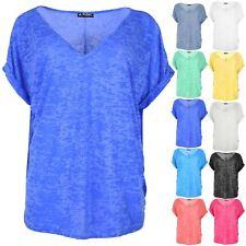 Plus Size Womens Baggy T Shirt Ladies Lagenlook Top Burnout V Neck Oversized