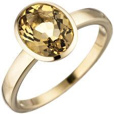 anillo de mujer con Citrino amarillo ovalo, 585 Oro Citrinring