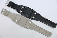 Original Gooix Watch Pad Uhrenarmband Leder Schwarz Beige Stegbreite: 32mm