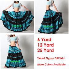 TurqsBlue/Black Satin 6/12/25 Yard Tiered Gypsy Frill Skirt Belly Dance Flamenco