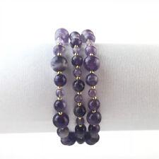 Bracelet triple Améthyste pierres semi-précieuses  Perles pochette KDO
