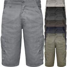 Mens Lightweight Cargo Chino Shorts Summer Casual Combat 100% Cotton Half Pants