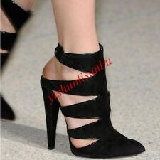 Lace Up Kitten Heel Shoes Block Heel Sandals Pointy Toe Slip On Ankle Leisure Sz