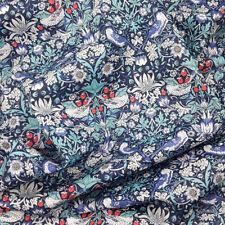 Liberty ~ Strawberry Thief M Teal Blue Tana Lawn Fabric / quilt Christmas bird