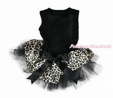Pure Black Sleeveless Black Bow Leopard Satin Gauze Skirt Pet Dog Dress Outfit