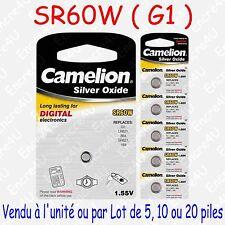 Pile Bouton SR Oxyde d'argent 1,55V : SR60W G1 164 364 SR621 LR621 : x 1 5 10 20
