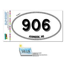 Area Code Euro Oval Window Laminated Sticker 906 Michigan MI Ahmeek - Houghton