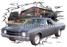 1971 Black Chevy El Camino b Custom Hot Rod Garage T-Shirt 71, Muscle Car Tee's