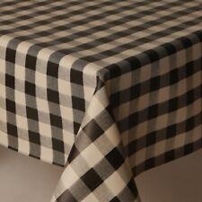 Plain Black Gingham Check White Squares Pvc Vinyl Table Cloth Kitchen