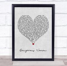 Dangerous Woman Grey Heart Song Lyric Print